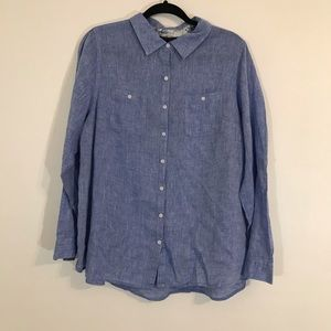 Lane Bryant Chambray Long Sleeved Button Up Shirt